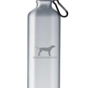 silver water bottle with gundog logo