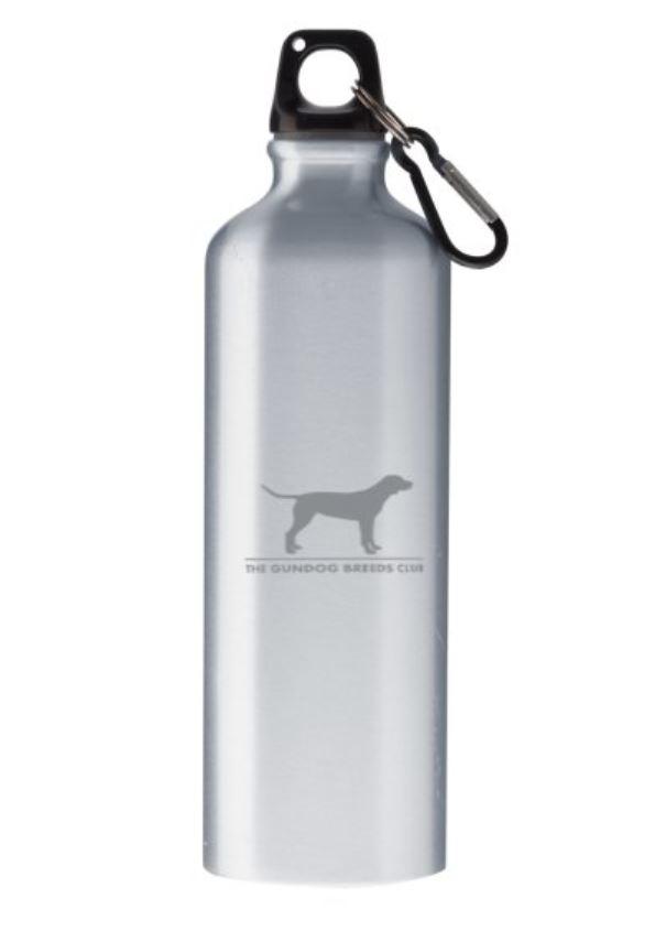 silver water bottle with gundog logo